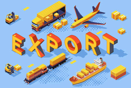 Export road air concept. Railroad freight, transport technologies for transportation. Cargo business shipment for web banner, flat isometric vector illustration isolated on white background