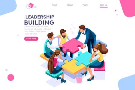 Unidad de liderazgo. Construcción de rompecabezas de líderes y negocios. Concepto de soporte de proceso, se puede utilizar para banner web, infografías, imágenes de héroes. Ilustración de vector plano isométrico aislado sobre fondo blanco