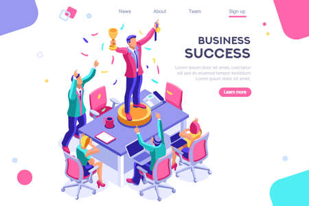 Header, screen increase, competition interface. Earn application, can use for web banner, infographics, hero images. Flat isometric vector illustration isolated on white background  イラスト・ベクター素材