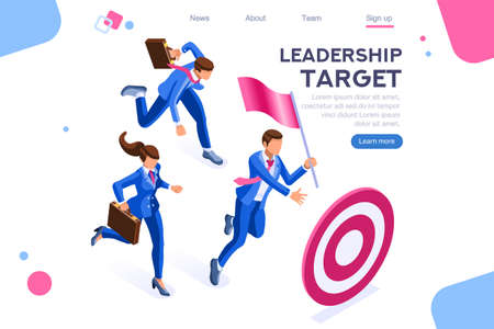 Running people, target forward. Leadership, climbing your way, job action. Can use for web banner, infographics, hero images. Flat isometric vector illustration isolated on white background 일러스트