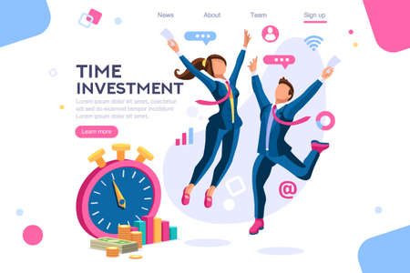 Investment, clock concept. Save time, economy images. Isometric flat color icons, creative illustrations. Interacting people - Vector