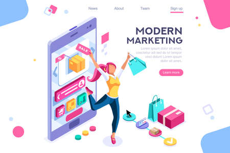Concept, buyer graphic, consumerism design. Buyer, e-commerce interface, items. Layout used for consumerism online. Interacting people. 3d isometric vector illustration.