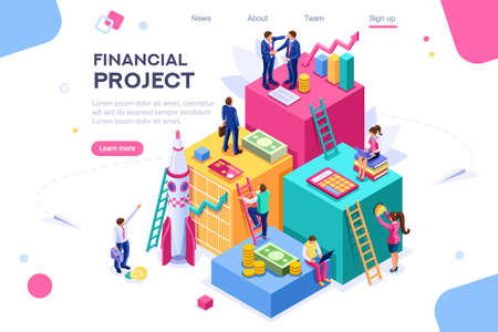 Communication, economy project, money investment card. Teamwork assistant concept. Interacting people. 3d isometric vector illustration. Standard-Bild - 122595110