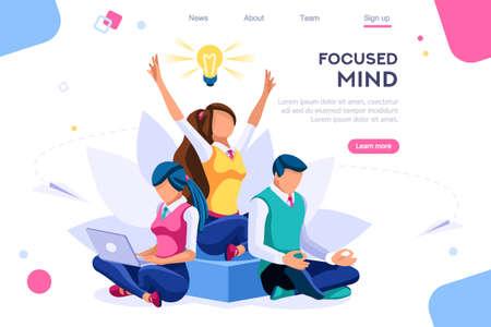 Buscar ideas, concepto de concentración. La meditación, el concepto de salud, se puede utilizar para banner web, infografías, imágenes de héroes. Ilustración de vector plano isométrico aislado sobre fondo blanco