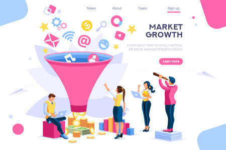 E-business buyer, market imagination growth focus filter. Digital generation. Elements for web banner, infographics, hero images. Flat isometric vector illustration isolated on white background  イラスト・ベクター素材