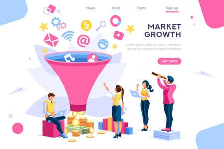 Kupujący e-biznes, filtr ukierunkowany na wzrost wyobraźni rynkowej. . Generacja cyfrowa. Elementy banera internetowego, infografiki, obrazy bohaterów. Płaskie izometryczne wektor ilustracja na białym tle