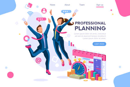 Business tasks schedule week. Clock, blackboard, computer graphic. Task background, flat color icons, creative illustrations, isometric infographic images, web banner - Vector Archivio Fotografico - 122714906