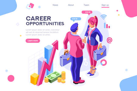 Work cheerful for both, business equality concept for infographics, hero images. Flat isometric vector illustration. Web banner between white background, between empty space Stockfoto - 122714909