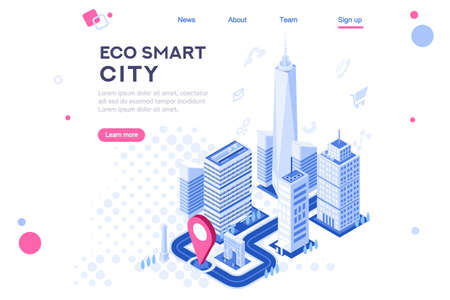 Web city smart eco system for engineers. Build flat complex, tech dashboard, virtual ui, architecture homepage. Map of skyscraper center. Banner, 3d isometric buildings isolated on white background 版權商用圖片 - 122595114