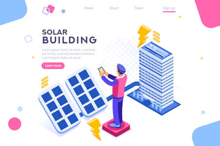 Digital solar building. Panels, electric economy, house device. Concept for infographics, hero images. Flat isometric vector illustration. Web banner between white background, between empty space Фото со стока - 122714988