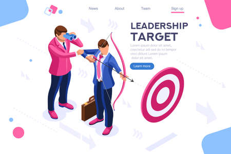 Running people, target forward. Leadership, climbing your way, job action. Can use for web banner, infographics, hero images. Flat isometric vector illustration isolated on white background Çizim