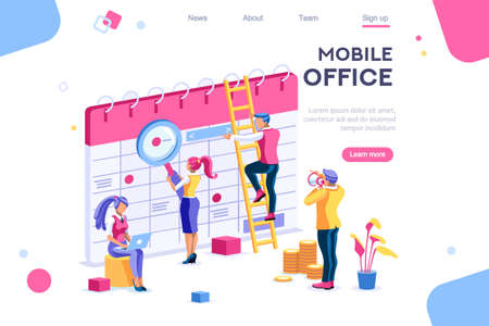 Calendar landing page interact. Data graphs, database, display statistics. Banner between white background, between empty space. 3d images isometric vector illustrations. Interacting people