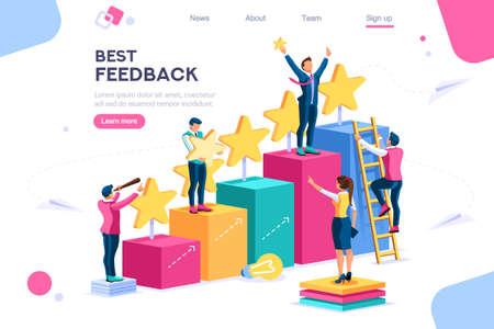 Icone del punteggio di concorrenza in crescita, insieme semplice. Punteggio app, Vinci punti Performance. Miglior commento di feedback concettuale. Lavorare per i segni di soddisfazione. Simboli infografici di feedback, icona del punteggio di linea. Set colorato
