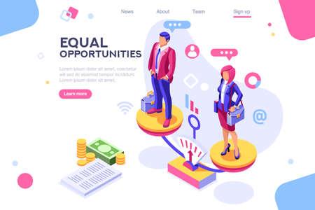Lavora allegro per entrambi, concetto di uguaglianza aziendale per infografica, immagini di eroi. Illustrazione vettoriale piatta isometrica. Banner Web tra sfondo bianco, tra spazio vuoto Vettoriali
