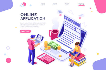 Work bills, coin site, money on blank webpage. Form, landing page concept for infographics, hero images. Flat isometric vector illustration. Web banner between white background, between empty space Иллюстрация