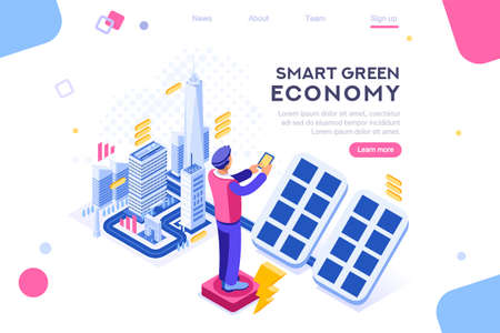 Digital solar building. Panels, electric economy, house device. Concept for infographics, hero images. Flat isometric vector illustration. Web banner between white background, between empty space Фото со стока - 122714996
