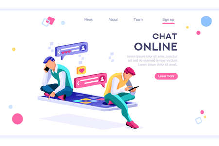 Online dating, social teenagers. Concept of network top application header. Cartoon banner between white background, between empty space. 3d images isometric vector illustrations. Interacting people Фото со стока - 122595125