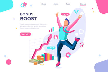 Graphic bonus management. Banner between white background, between empty space. 3d images isometric vector illustrations. Interacting people Фото со стока - 122595126