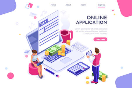 Work bills, coin site, money on blank webpage. Form, landing page concept for infographics, hero images. Flat isometric vector illustration. Web banner between white background, between empty space Illustration