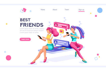 Online dating, social teenagers. Concept of network top application header. Cartoon banner between white background, between empty space. 3d images isometric vector illustrations. Interacting people