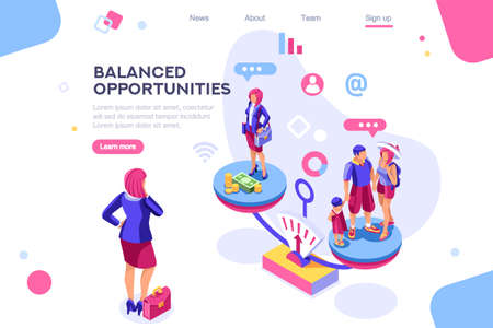 Choice, life responsibility, job choosing, professional decision balance. Banner between white background, between empty space. 3d images isometric vector illustrations. Interacting people Ilustração