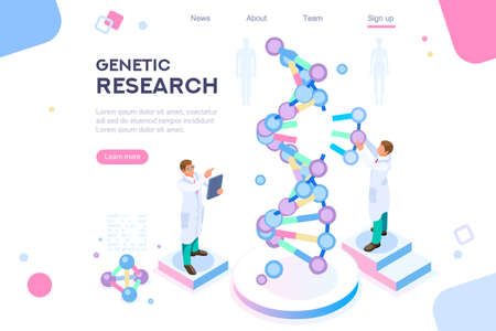 Genetic banner promotion. Research, genome concept for infographics, hero images. Flat isometric vector illustration. Web banner between white background, between empty space Illusztráció