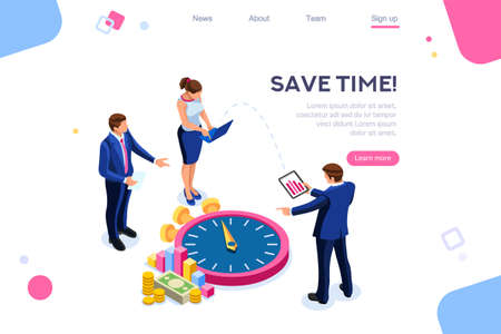 Consulting, money control. Economy time. Flat color icons, creative illustrations, isometric infographic images, web banner - Vector