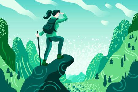 Explorer Discovery, Watch and Explore Vallée touristique avec sac à dos de voyageur. Icônes de couleur plate, illustrations créatives, images infographiques isométriques, bannière Web - Vector
