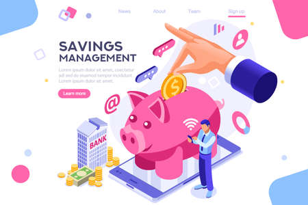 Depositing, banknote banner. Money on smartphone, coin holding. Bank concept for infographics, hero images. Flat isometric vector illustration. Web banner between white background, between empty space 版權商用圖片 - 122715031