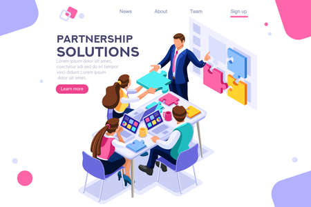 Project pieces, communication, collaboration, partnership solution. Together images, teamwork concept. Can use for web banner, infographics, hero images. Flat isometric vector illustration. Archivio Fotografico - 122715032