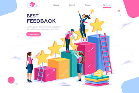 Arrows score, win and grow. Star choose, best feedback comment. 5 stars rating, people and text, characters concept for web banner, infographics, hero images. Flat isometric vector illustration Stockfoto - 122715033