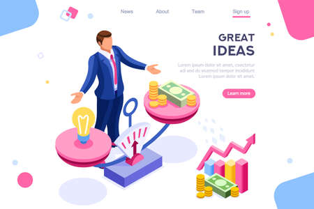 Money idea compare layout. Hold conceptual bulb on gold balance concept, can use for web banner, infographics, hero images. Flat isometric vector illustrations isolated on white background Фото со стока - 122715036