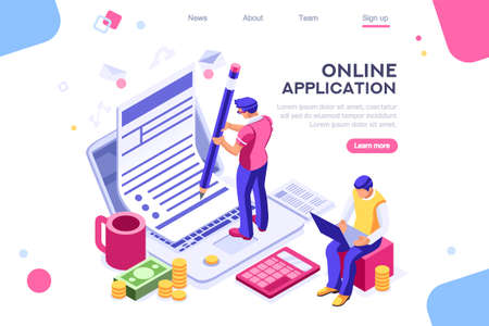 Work bills, coin site, money on blank webpage. Form, landing page concept for infographics, hero images. Flat isometric vector illustration. Web banner between white background, between empty space Illusztráció