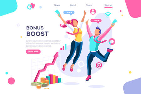 Graphic bonus management. Banner between white background, between empty space. 3d images isometric vector illustrations. Interacting people Illustration