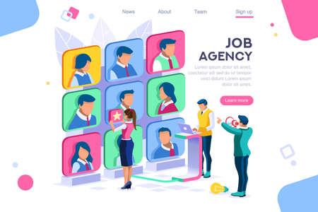 Client employee job agency character hire group contract social employer. Flat color icons, creative illustrations, isometric infographic images, web banner - Vector Ilustración de vector