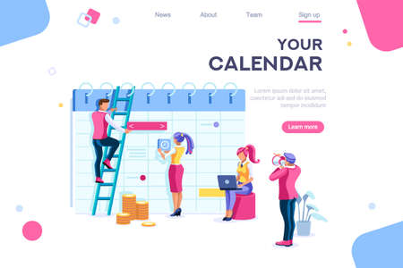 Calendar landing page interact. Data graphs, database, display statistics. Banner between white background, between empty space. 3d images isometric vector illustrations. Interacting people Фото со стока - 122715041
