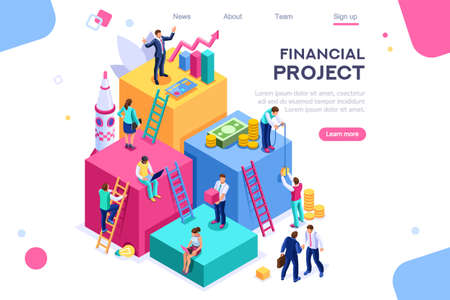 Communication, economy project, money investment card. Teamwork assistant concept. Interacting people. 3d isometric vector illustration. Vector Illustratie