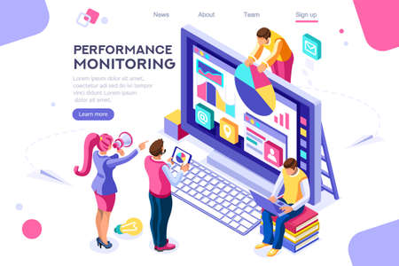 Abstract ladder presentation. Monitor collection. Performance of simple designer building monitor chart. Flat color icons, creative illustrations, isometric infographic images, web banner