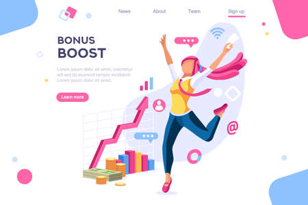 Graphic bonus management. Banner between white background, between empty space. 3d images isometric vector illustrations. Interacting people Ilustrace