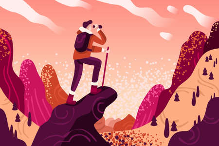 Explorer discovery, watch and explore touristic valley with traveller backpack. Flat color icons, creative illustrations, isometric infographic images, web banner vector Vettoriali