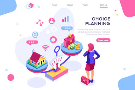 Choice, life responsibility, job choosing, professional decision balance. Banner between white background, between empty space. 3d images isometric vector illustrations. Interacting people  イラスト・ベクター素材