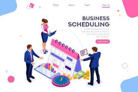 Business tasks schedule week. Clock, blackboard, computer graphic. Task background, flat color icons, creative illustrations, isometric infographic images, web banner - Vector Vektorové ilustrace