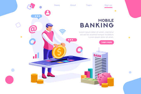 Bank holding coin on smartphone. Money banner, banknote depositing concept for infographics, hero images. Flat isometric vector illustration. Web banner between white background, between empty space Illusztráció