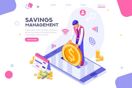Depositing, banknote banner. Money on smartphone, coin holding. Bank concept for infographics, hero images. Flat isometric vector illustration. Web banner between white background, between empty space 版權商用圖片 - 122715048