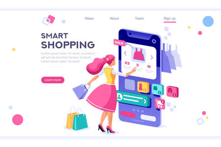E-commerce buyer. Internet items. Banner between white background, between empty space. 3d images isometric vector illustrations. Interacting people Foto de archivo - 122715049