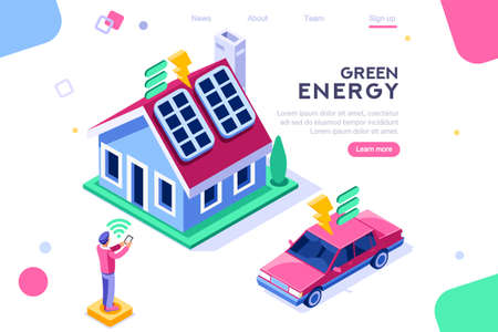 Digital solar building. Panels, electric economy, house device. Concept for infographics, hero images. Flat isometric vector illustration. Web banner between white background, between empty space Иллюстрация