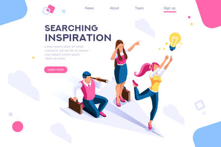Cloud header, search, idea advancement. Man cutout, flat color icons, creative illustrations, isometric infographic images, web banner - Vector
