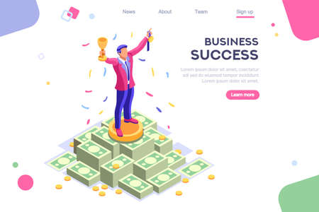 Header, screen increase, competition interface. Earn application, can use for web banner, infographics, hero images. Flat isometric vector illustration isolated on white background Çizim
