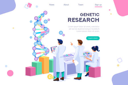Genetic banner promotion. Research, genome concept for infographics, hero images. Flat isometric vector illustration. Web banner between white background, between empty space Stock Illustratie