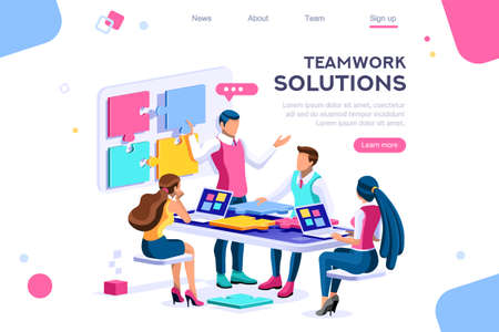Teamwork images, together solutions, partnership collaboration and communication. Pieces of project concept. Can use for web banner, infographics, hero images. Flat isometric vector illustration.